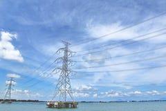 Ligne de transmission à haute tension à travers la mer au ciel, les nuages Image stock