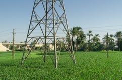 Ligne de transport d'énergie appui dans le domaine Photographie stock