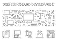 Ligne de vecteur bannière de Web de concept pour le développement d'applications Photos stock
