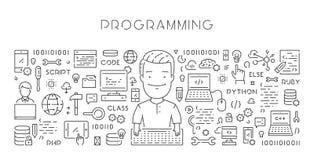 Ligne de vecteur bannière de Web pour la programmation Images stock