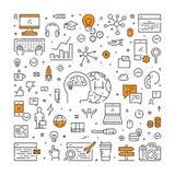 Ligne de vecteur bannière de Web pour le marketing numérique Images libres de droits