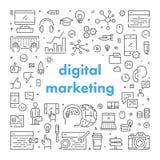 Ligne de vecteur bannière de Web pour le marketing numérique illustration de vecteur