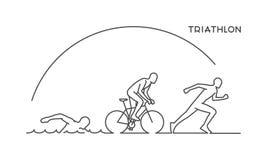 Ligne de vecteur concept de construction pour le triathlon Images stock