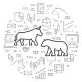 Ligne de vecteur concept de Web pour la bourse des valeurs  Photo libre de droits
