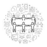 Ligne de vecteur concept de Web pour le travail d'équipe Images stock