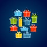 Ligne de vecteur illustration de style avec des boîte-cadeau Photos stock