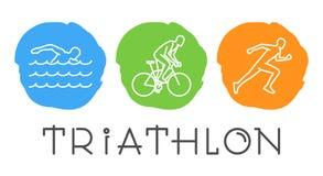Ligne de vecteur symbole de Web pour le triathlon Images libres de droits