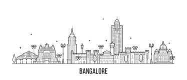 Ligne de vecteur de ville de Karnataka Inde d'horizon de Bangalore illustration libre de droits
