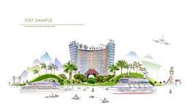 Ligne de ville de luxe d'illustration d'hôtel de club de plage collection illustration stock
