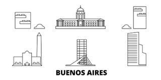 Ligne de ville de l'Argentine, Buenos Aires ensemble d'horizon de voyage Illustration de vecteur de ville d'ensemble de ville de  illustration libre de droits