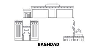 Ligne de ville de l'Irak, Bagdad ensemble d'horizon de voyage Illustration de vecteur de ville d'ensemble de ville de l'Irak, Bag illustration libre de droits