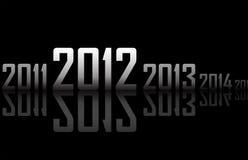 Ligne des ans avec les réflexions (thème de 2012 ans) Photographie stock libre de droits