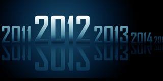 Ligne des ans avec les réflexions (thème de 2012 ans) Image stock