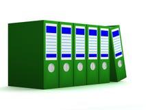 Ligne des dépliants verts avec des documents Image stock