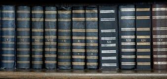 Ligne des livres antiques dans la bibliothèque Image stock