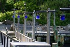 Ligne des lumières bleues Photographie stock