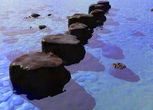 Ligne des pierres de progression dans une scène bleue de fleuve d'océan Image stock