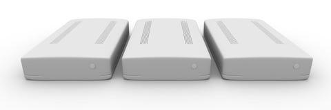 Ligne des unités de disque dur externes Photo stock