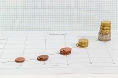 Ligne diagramme avec les pièces de monnaie empilées sur le fond du pape carré Images libres de droits