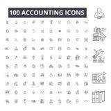 Ligne editable de comptabilité icônes, ensemble de 100 vecteurs sur le fond blanc Illustrations noires de comptabilité d'ensemble illustration stock