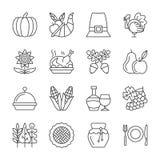 Ligne Editable ensemble de jour de thanksgiving de course d'icône illustration stock