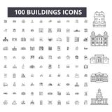 Ligne editable icônes, ensemble de 100 vecteurs, collection de bâtiments Illustrations noires d'ensemble de bâtiments, signes, sy illustration stock