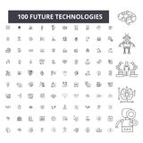 Ligne editable icônes, ensemble de 100 vecteurs, collection de futures technologies Illustrations noires d'ensemble de futures te illustration libre de droits
