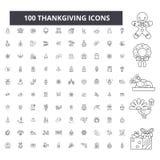 Ligne editable icônes, ensemble de 100 vecteurs, collection de Thankgiving Illustrations d'ensemble de noir de Thankgiving, signe illustration de vecteur