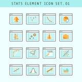 Ligne ensemble d'éléments plat de statistique d'icônes 01 Image libre de droits