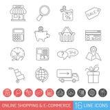 Ligne ensemble d'achats d'icône Image libre de droits