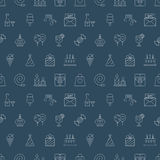 Ligne ensemble d'anniversaire de modèle d'icône Image libre de droits
