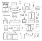 Ligne ensemble d'articles de meubles Photos libres de droits