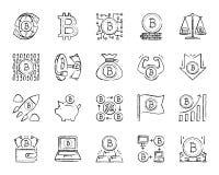 Ligne ensemble d'aspiration de charbon de bois de Bitcoin de vecteur d'icônes illustration stock