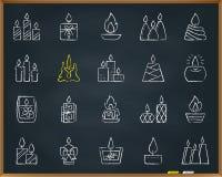 Ligne ensemble d'aspiration de craie de flamme de bougie de vecteur d'icônes illustration libre de droits