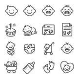 Ligne ensemble d'icône de vecteur de bébé nouveau-né Contient l'acte de naissance d'icônes, le chariot, les couches-culottes, le  illustration stock