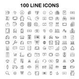 100 ligne ensemble d'icône Icônes minces et simples à la mode pour le Web et le Mobi Images stock