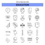 Ligne ensemble d'icône - style à tiret d'éducation d'ensemble 25 illustration libre de droits