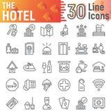 Ligne ensemble d'icône, symboles collection, croquis de vecteur, illustrations de logo, pictogrammes linéaires d'hôtel de service illustration libre de droits