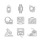 Ligne ensemble d'icône de dispositif médical d'icônes Image libre de droits
