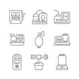 Ligne ensemble d'icône de dispositif médical d'icônes de salle d'opération Photos libres de droits