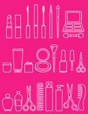 Ligne ensemble de beauté d'icône de cosmétiques Image stock