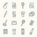 Ligne ensemble de cosmétiques d'icône illustration stock