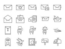 Ligne ensemble de courrier d'icône Icônes incluses comme email, colombe, enveloppe, envoyée, boîte de courrier et plus illustration libre de droits