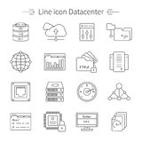 Ligne ensemble de Datacenter d'icône Image stock