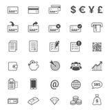 Ligne ensemble de finances et d'opérations bancaires d'icône de vecteur de style Image stock