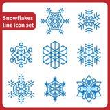 Ligne ensemble de flocons de neige d'icône Photo libre de droits