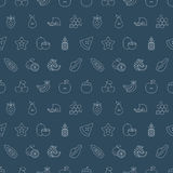 Ligne ensemble de fruits de modèle d'icône Photos stock