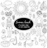 Ligne ensemble de griffonnage de caractères d'enfants d'american national standard de jouets de plage de vacances d'été de vecteu Images libres de droits
