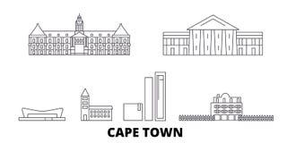 Ligne ensemble de l'Afrique du Sud, Cape Town d'horizon de voyage Illustration de vecteur de ville d'ensemble de l'Afrique du Sud illustration stock