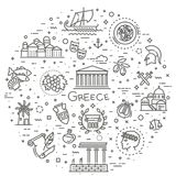 Ligne ensemble de la Grèce d'icône Vecteur Photographie stock libre de droits